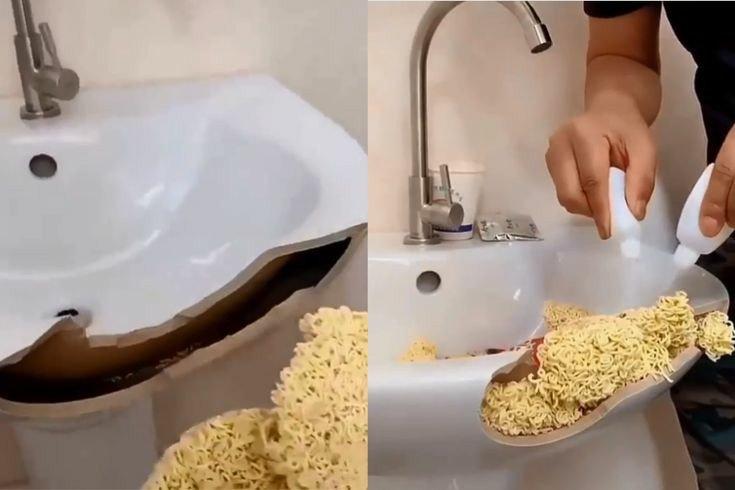 broken sink with noodles