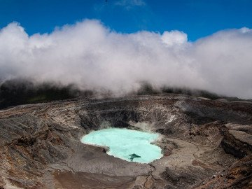 top view crater of a volcano