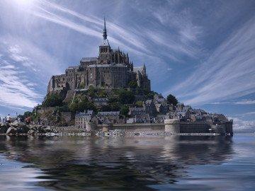 france landmark water clouds