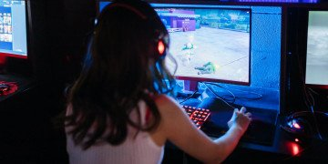 woman playing computer game